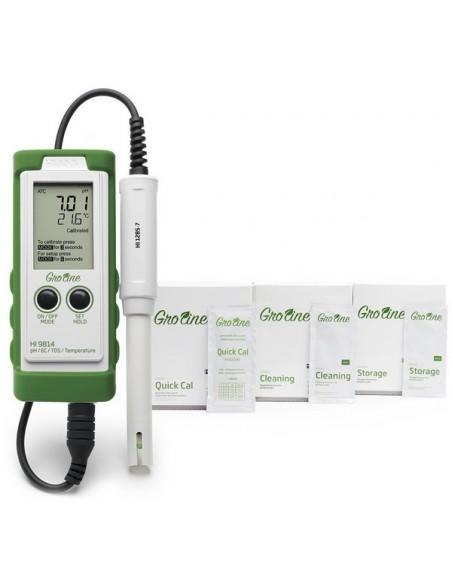 Wodoszczelny, przenośny miernik do pomiaru pH/EC/TDS/T serii Groline - w zestawie z osłoną silikonowa i odczynnikami