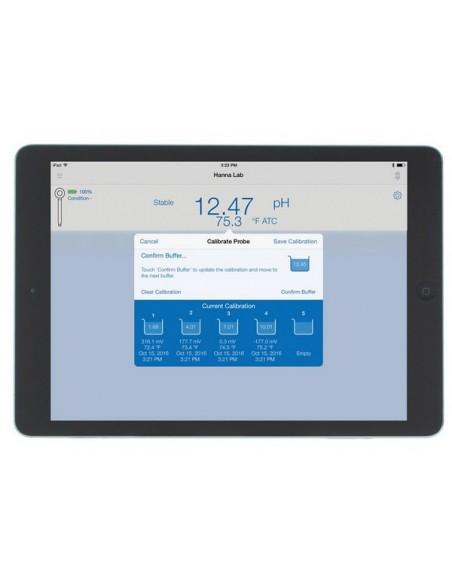 Przypomnienie o kalibracji elektrody i alarmy na ekranie iPada przy przekroczeniu progów alarmowych