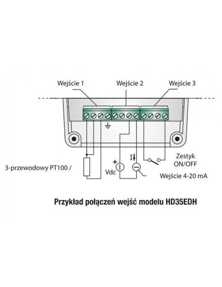 Przykład połączeń wejść modelu HD35EDH