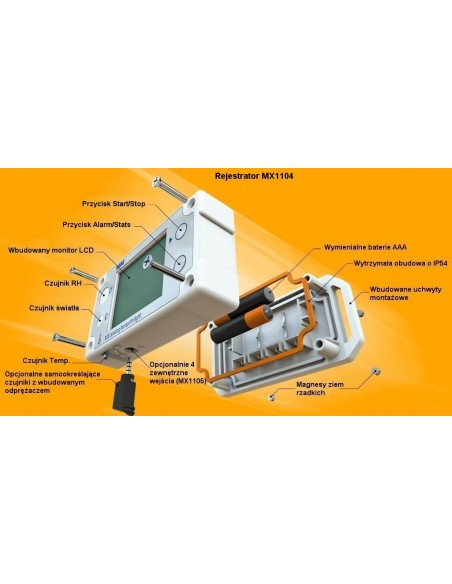 Bezprzewodowy, wielokanalowy rejestrator RH/Temp/Light/analog  MX1104