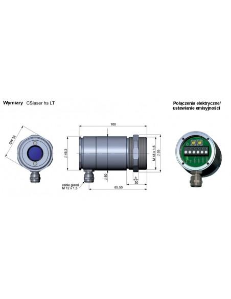Pirometr optris CSlaser G5HF - wymiary