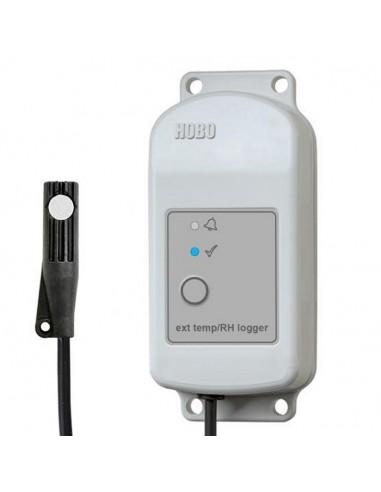 Rejestrator HOBO MX2302A temperatury i wilgotności względnej, z zewnętrznymi czujnikami.