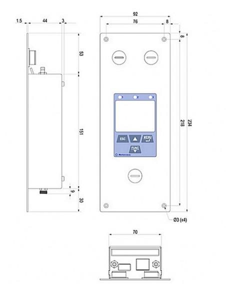 Rejestrator spadku ciśnień do pomieszczeń czystych HD50CR - wymiary